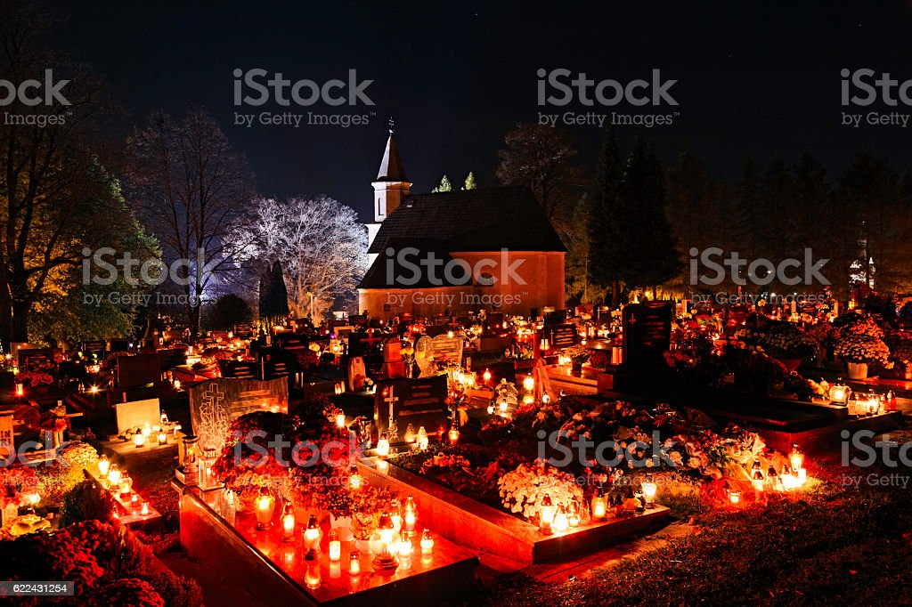Night Cemetery at All Saints' Day in Slovakia. ProPhotoRGB stock photo
