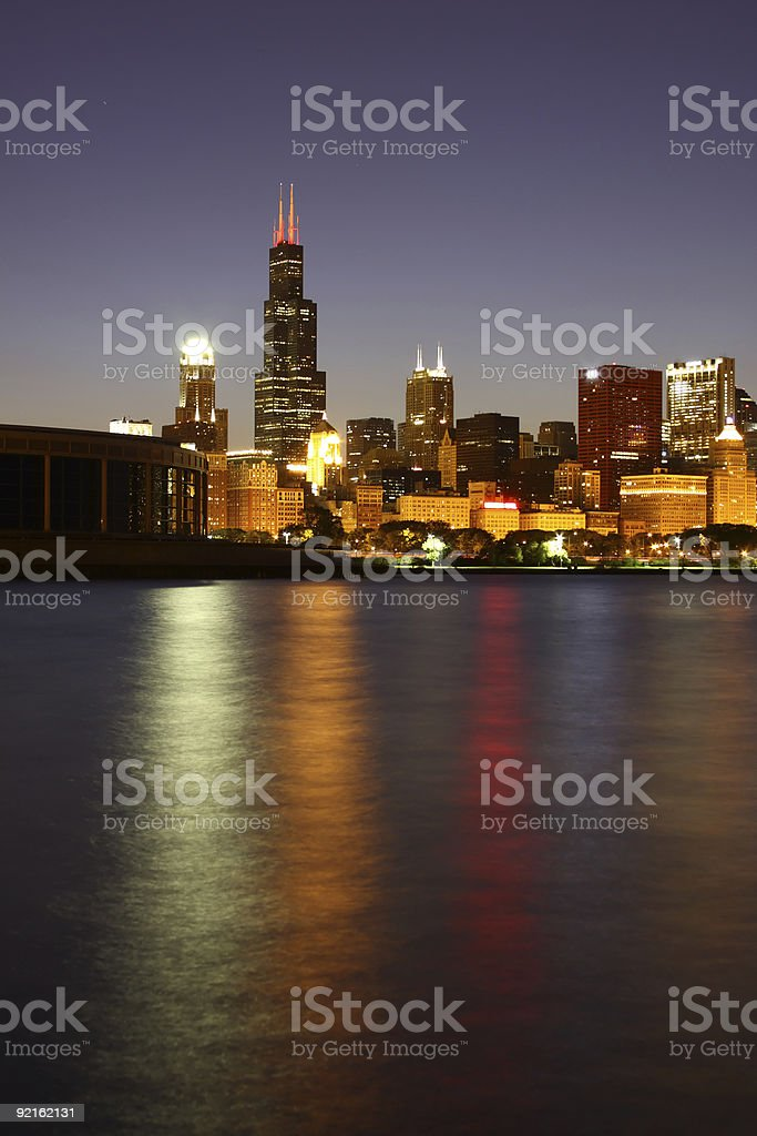 Night Chicago skyline from pier along Lake Michigan stock photo
