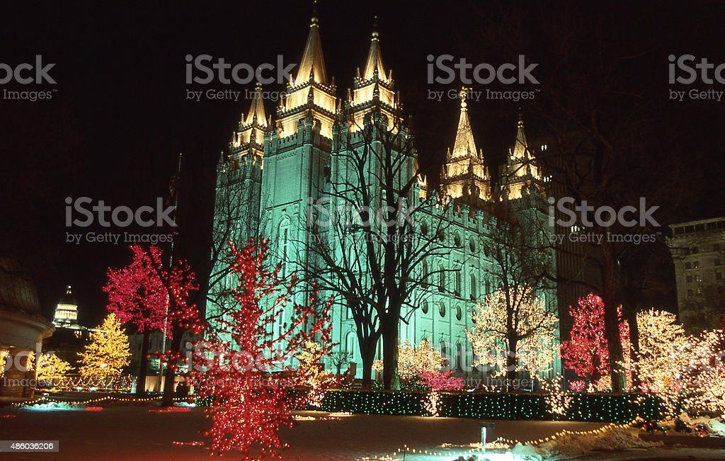 night Chrismas Temple Square downtown skyline Salt Lake City Utah stock photo