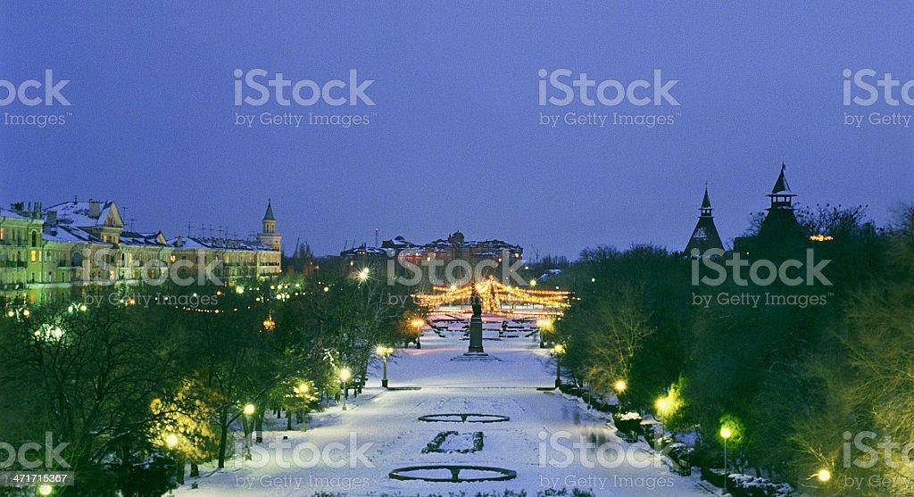 Night city. Christmas lights. stock photo