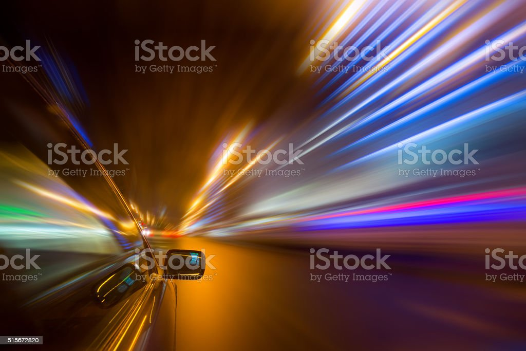 Night city drive by car stock photo