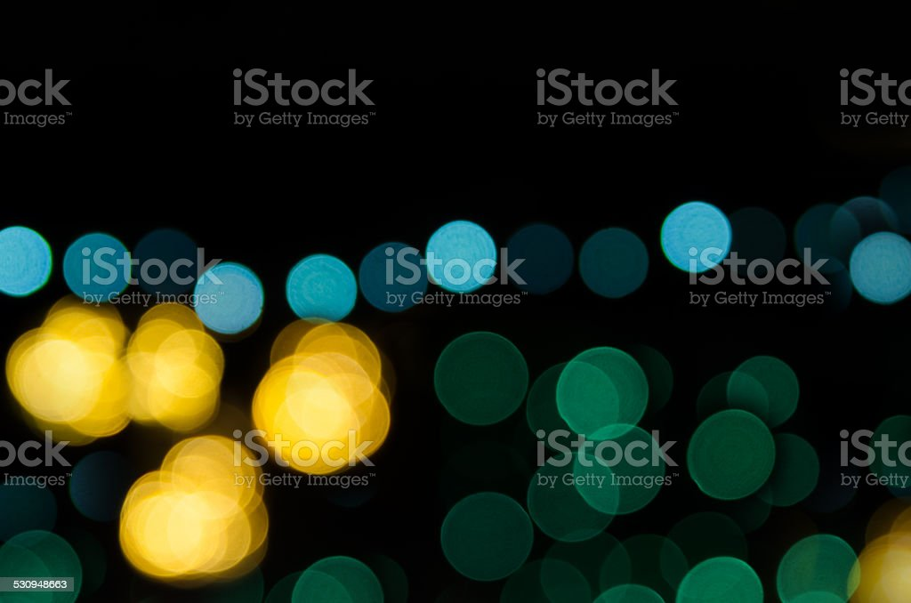 Night city street lights. Abstract circular bokeh background stock photo
