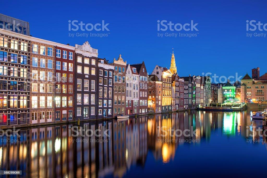 Night city view in Amsterdam, Netherlands. stock photo