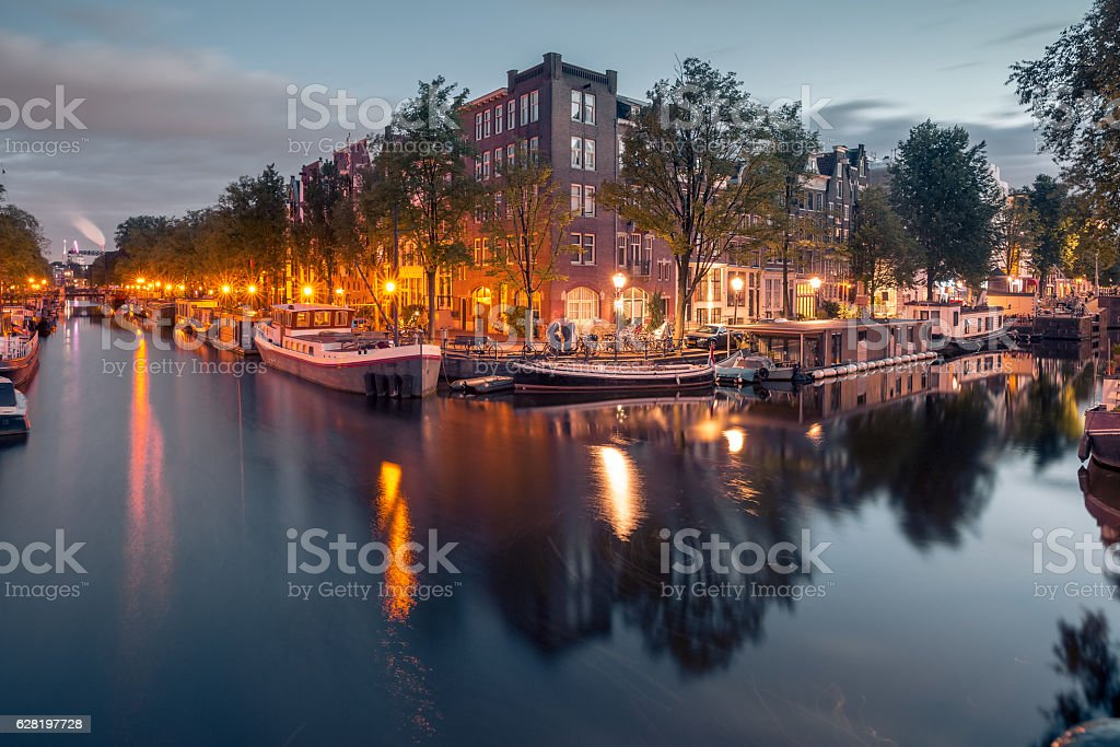 Night city view of Amsterdam canals stock photo