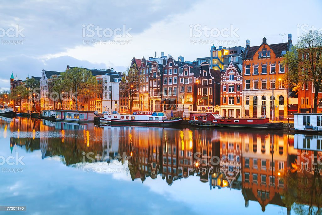 Night city view of Amsterdam, the Netherlands stock photo