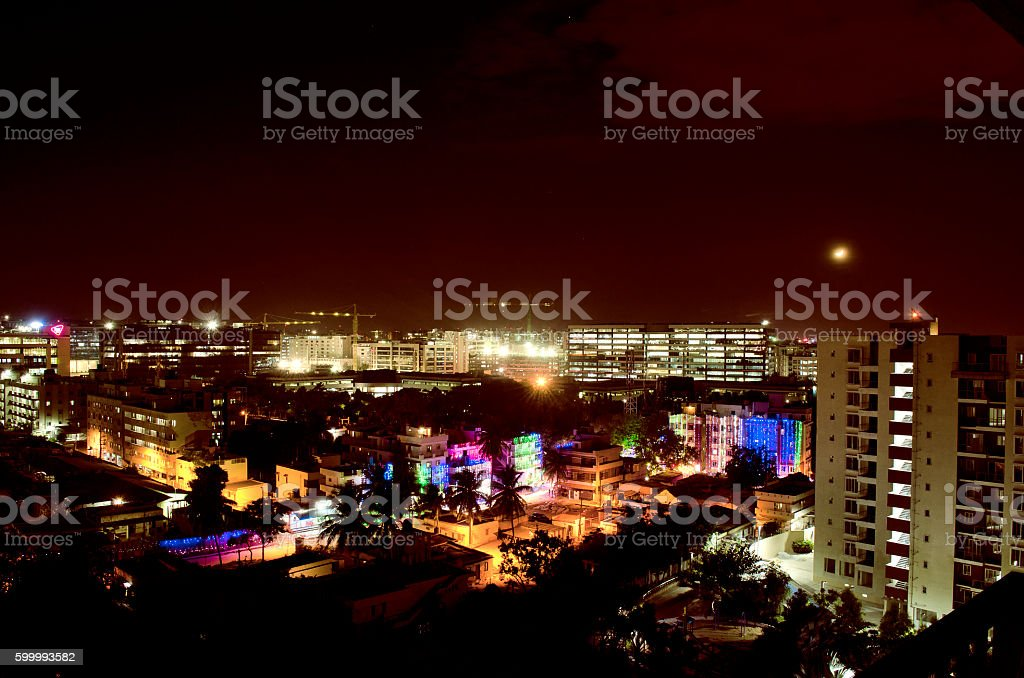 Night city view of Bangalore, Karnataka, India stock photo