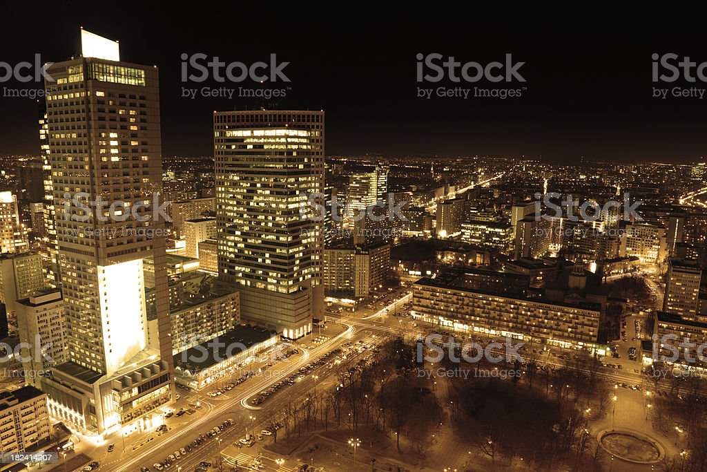 Night City Warsaw royalty-free stock photo