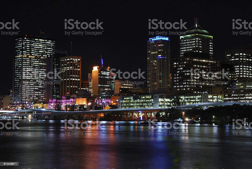 Night city with reflection royalty-free stock photo