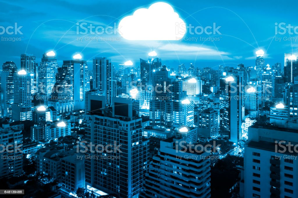 Night cityscape and internet network connection cloud technology for communication , business and technology concept stock photo