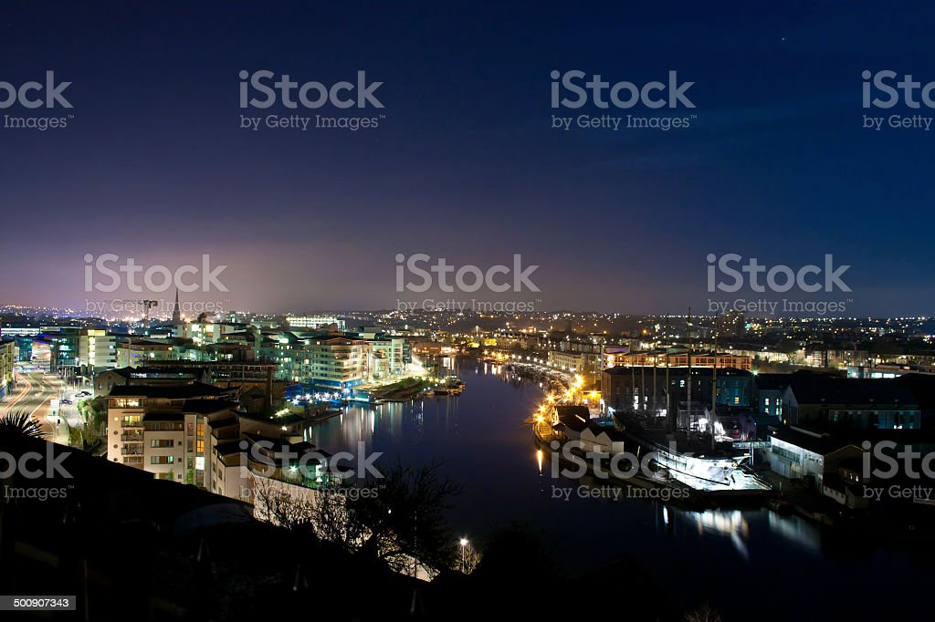 Night Cityscape And River stock photo