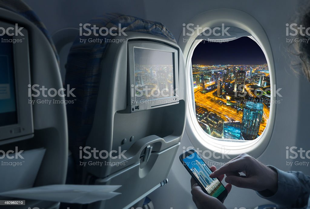 Night cityscape from an airplane stock photo