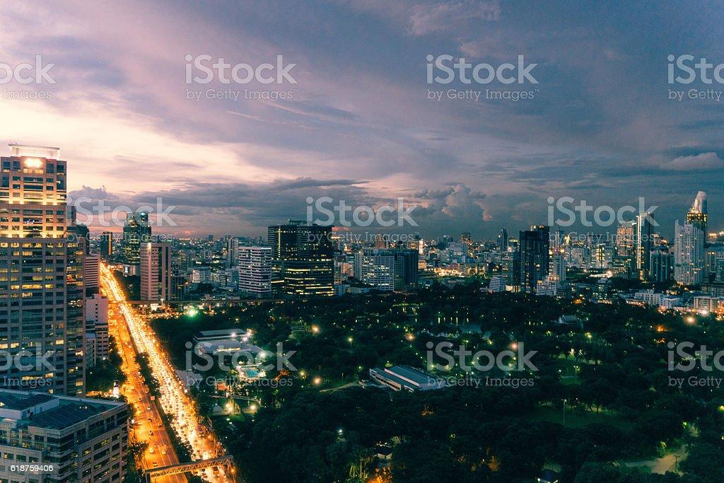 Night cityscape of Bangkok stock photo