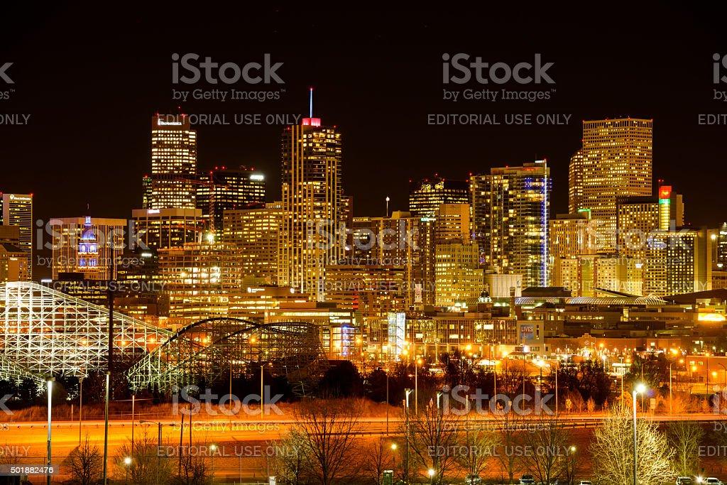 Night Cityscape of Denver stock photo