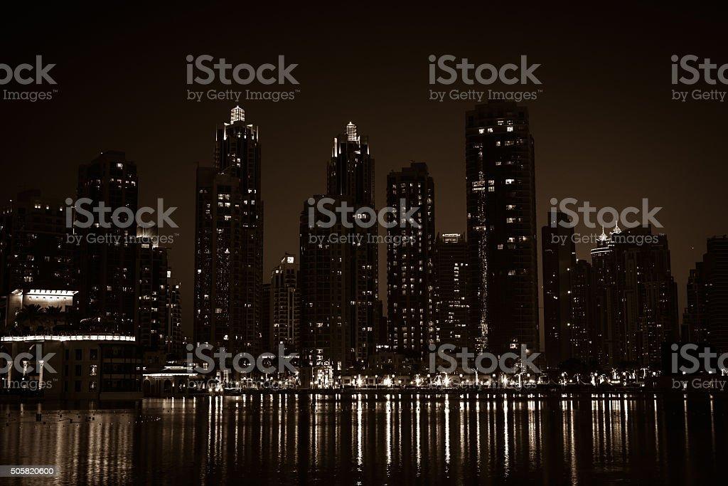 Night cityscape of Dubai city, United Arab Emirates stock photo