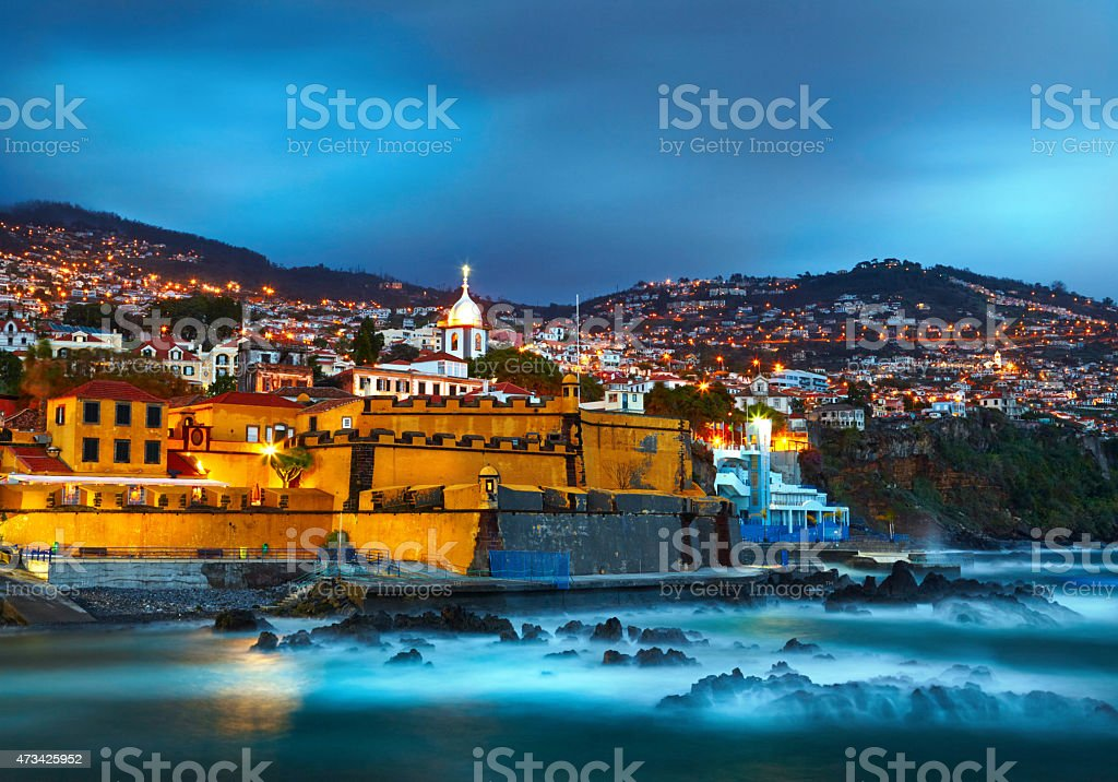 Night cityscape of Funchal, Madeira, Portugal stock photo