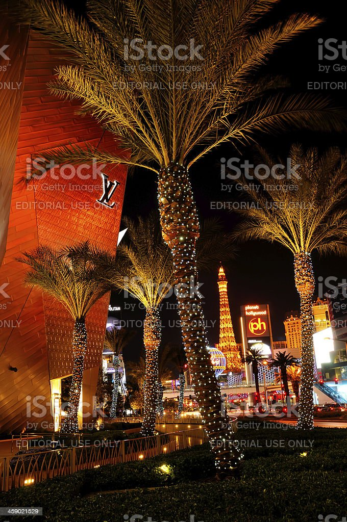 Night cityscape of Las Vegas, Nevada, USA stock photo