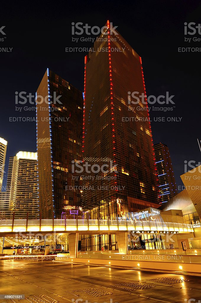 Night cityscape of Las Vegas with big skyscrapers, Nevada, USA stock photo