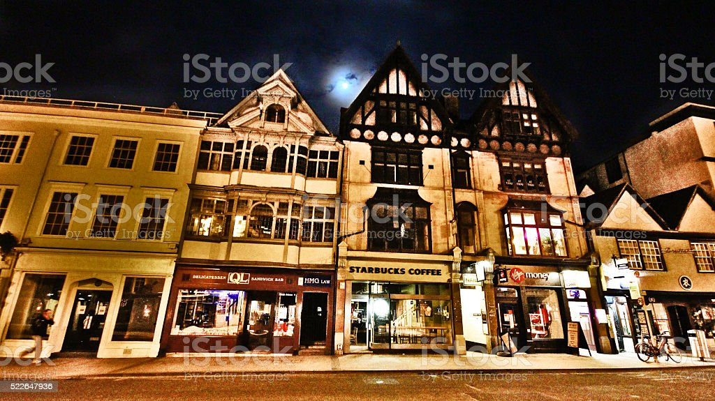 Night cityscape of Oxford city, UK stock photo