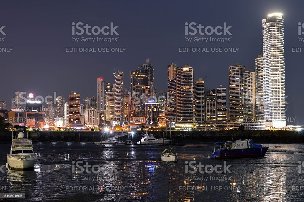 Night cityscape of Panama city, Panama, Central America stock photo