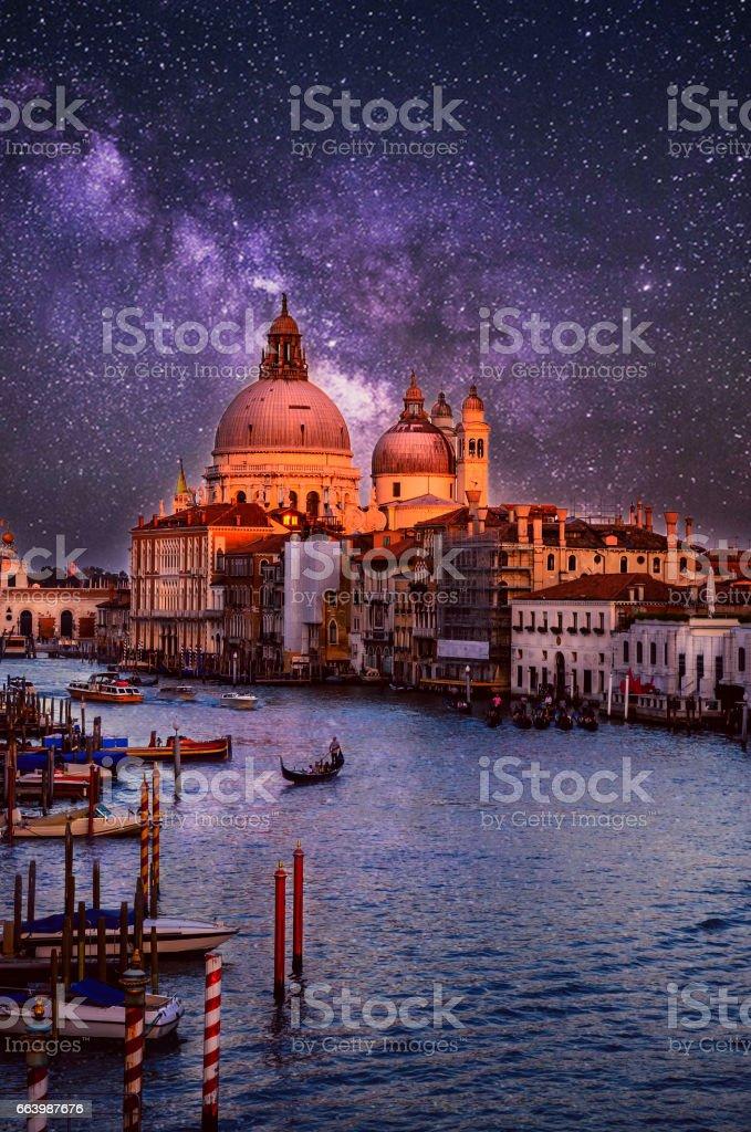 Night cityscape of Santa Maria della Salute basilica in Venice, Italy stock photo