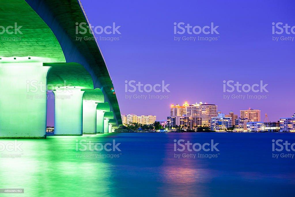 Night cityscape of Sarasota, Florida stock photo