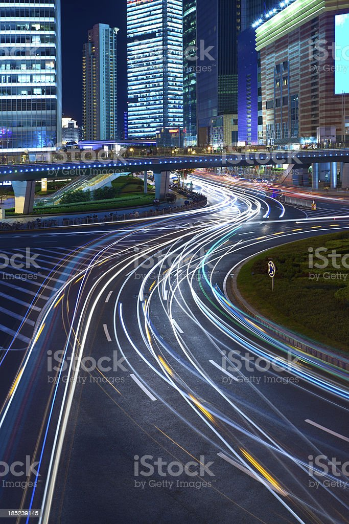 Night cityscape of shanghai royalty-free stock photo