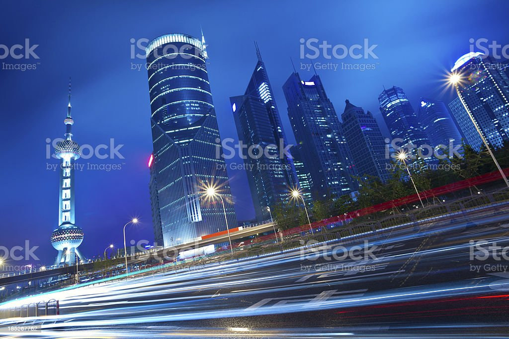 Night cityscape of shanghai royalty-free stock photo