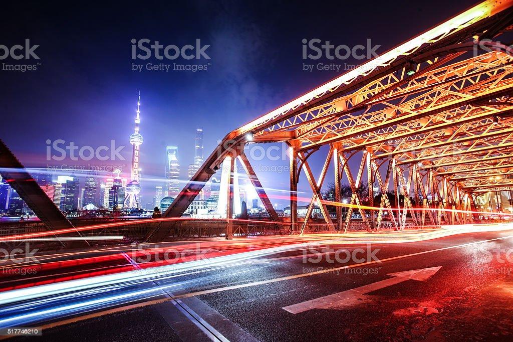 Night cityscape of shanghai stock photo