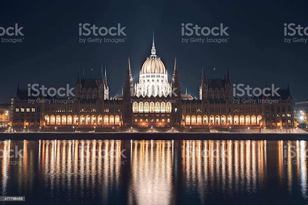 Night cityscape of the Parliament building Budapest stock photo