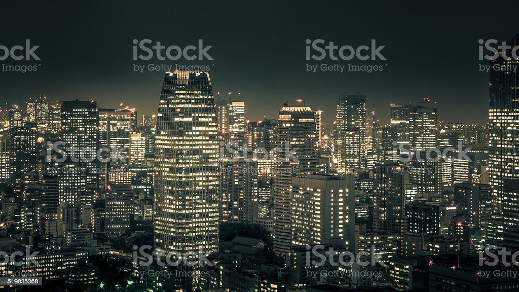 Night cityscape of TOKYO City stock photo