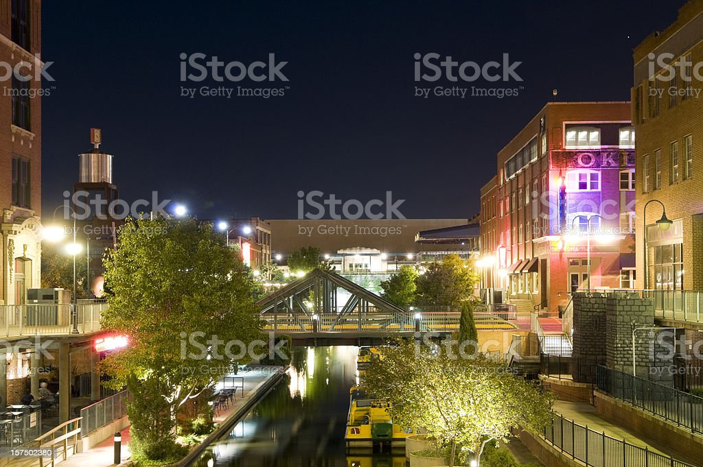 Night cityscape view of Bricktown in Oklahoma City stock photo