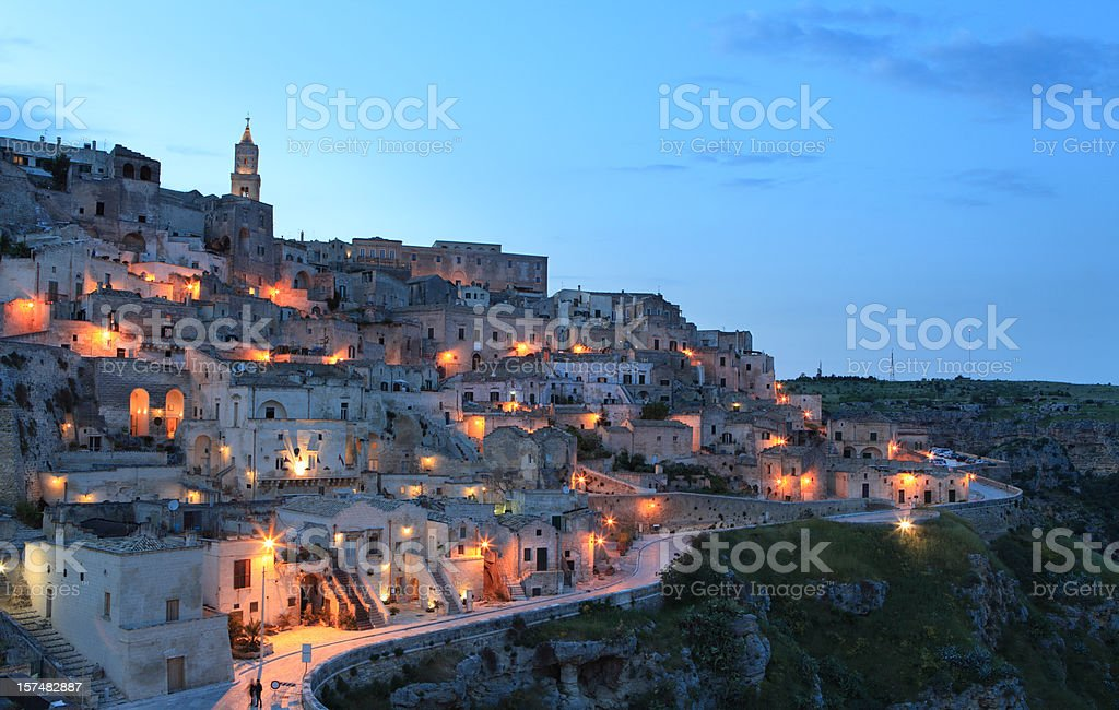 Night cityscape view of Matera Sassi, Basilica, Italy stock photo