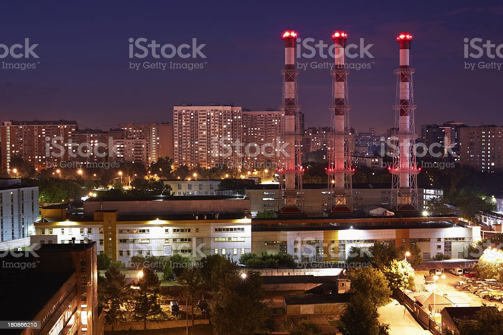 Night cityscape with factory royalty-free stock photo