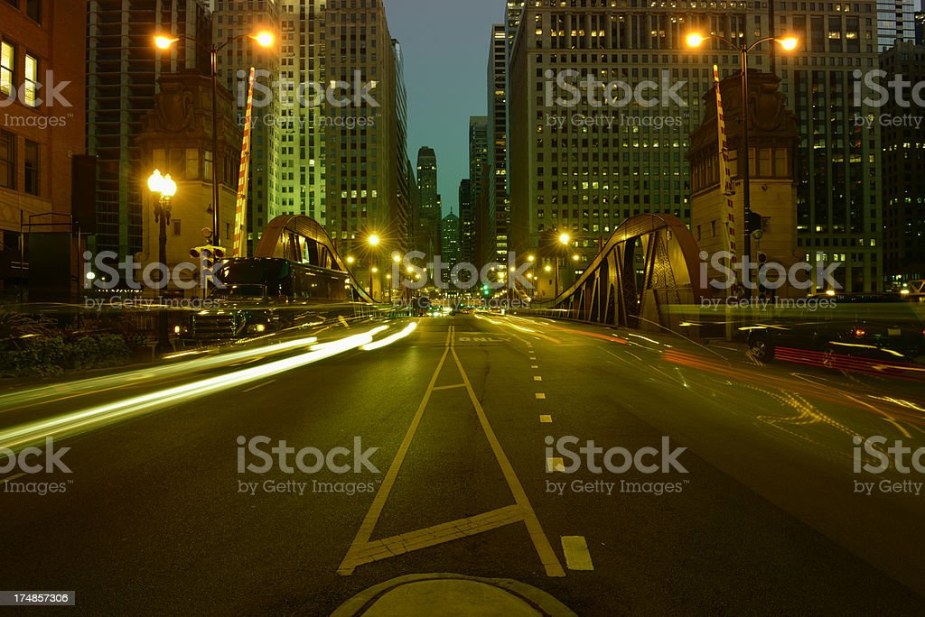 Night Cityscape,Chicago Downtown royalty-free stock photo