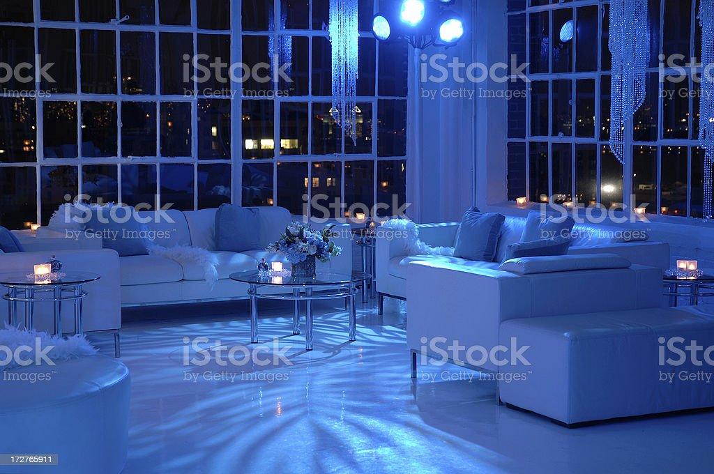 Night Club Blue Lounge Area Horizontal royalty-free stock photo