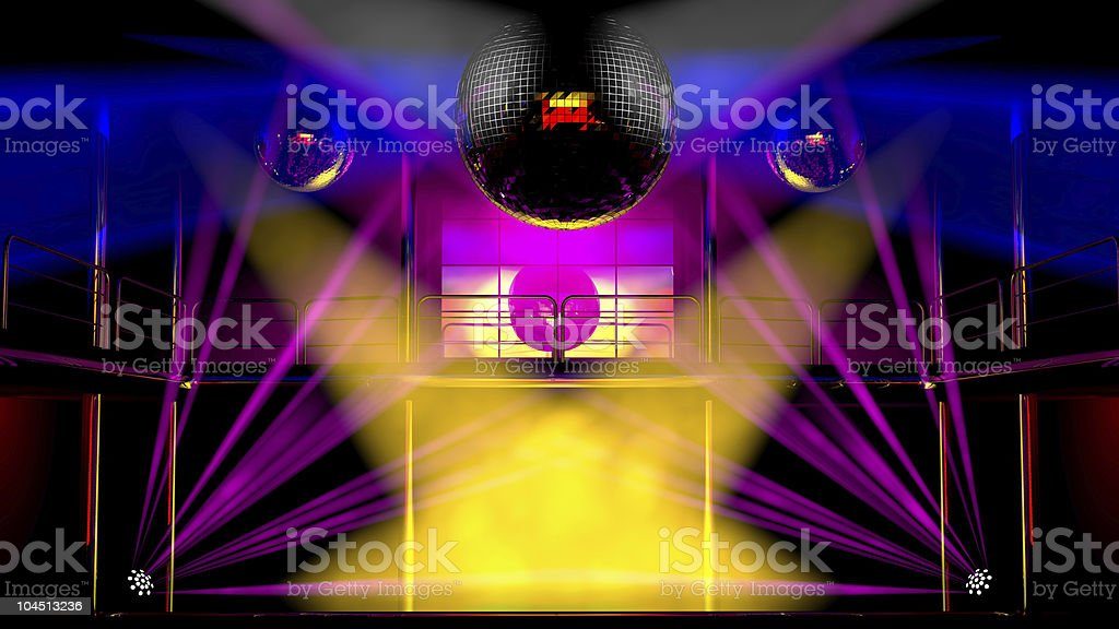 Night club colorful lights and disco balls royalty-free stock vector art