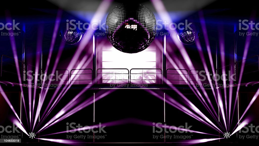 Night club colorful lights and disco balls royalty-free stock photo