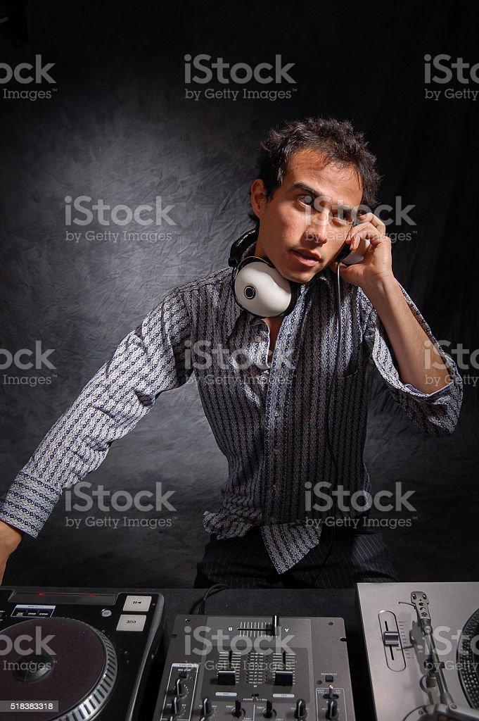 Night Club DJ Spinning Music stock photo
