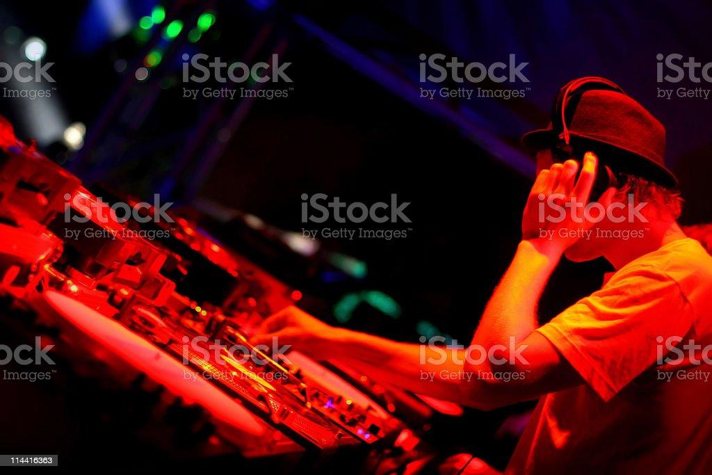 Night club house DJ playing his set  stock photo