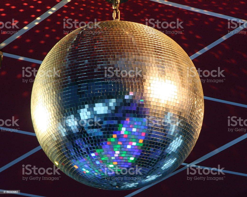 Night club lighting blue mirror-ball stock photo