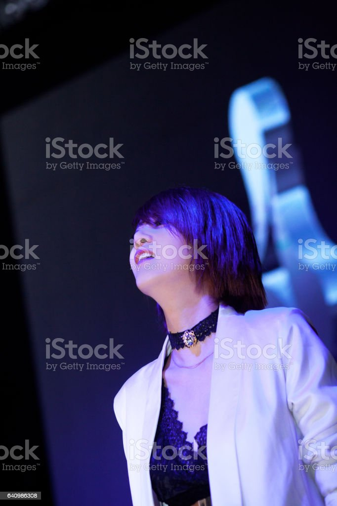 Night club singer at new year's eve stock photo