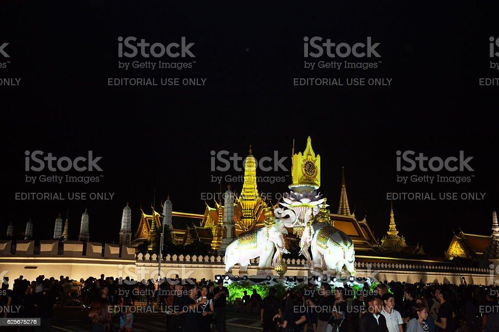 Night condolence scene at Wat Phra Kaeo stock photo