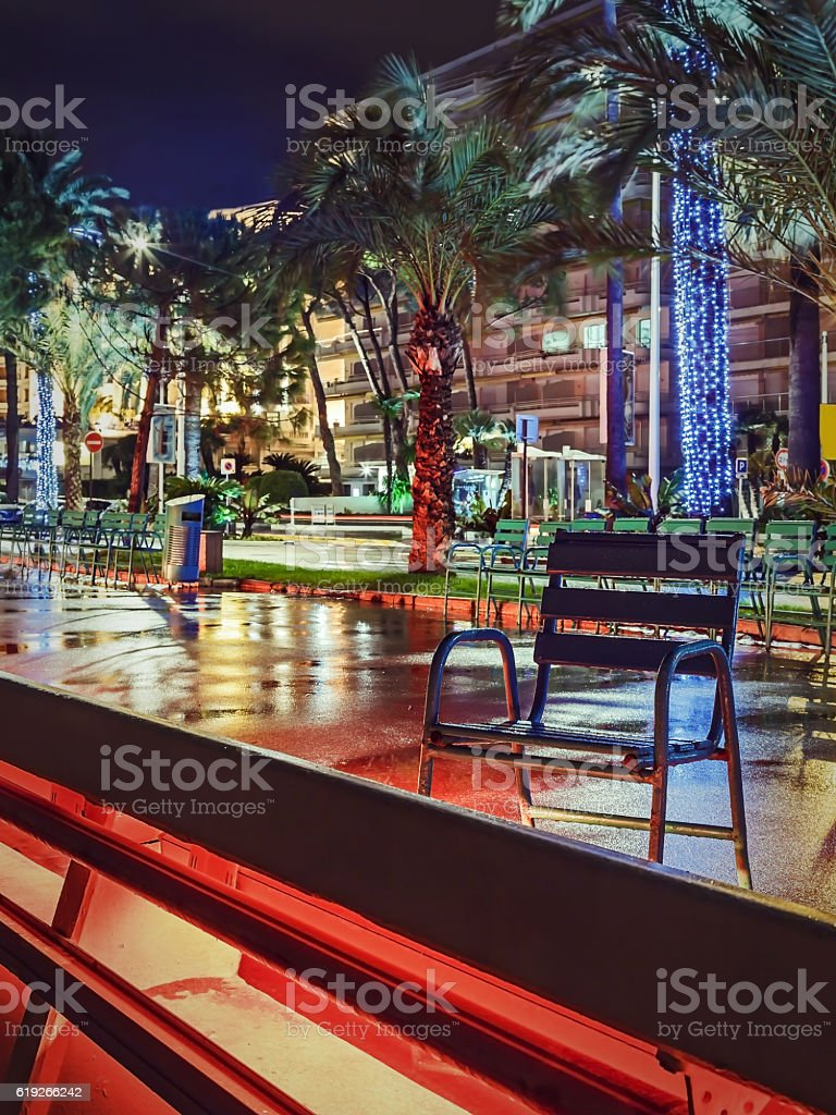 Night Croisette in Cannes stock photo