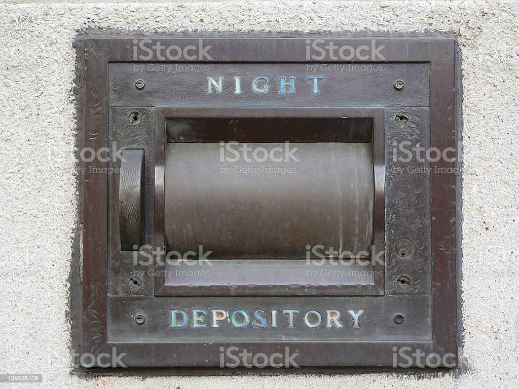 Night Depository Vault at a bank stock photo