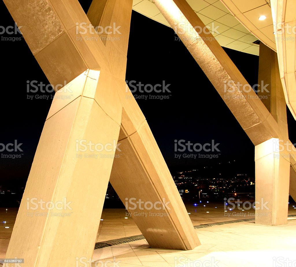 Night detail of Milad tower in Tehran, Iran. Cross structure stock photo