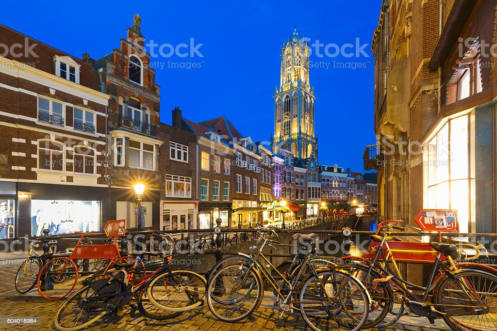 Night Dom Tower and bridge, Utrecht, Netherlands stock photo