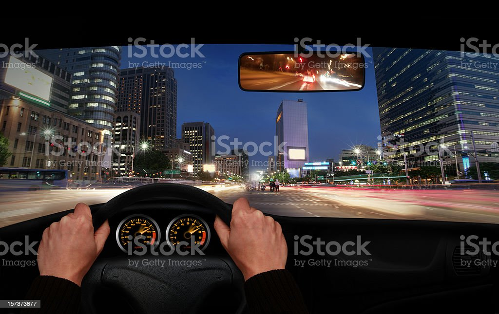 Night Drive in the City stock photo