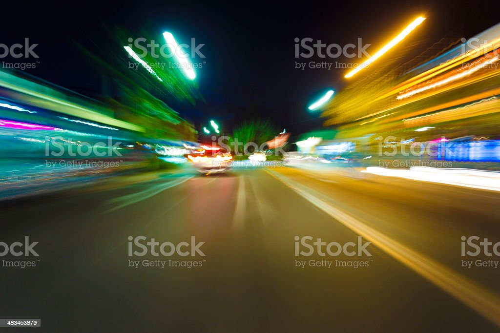 Night Driving in Byron Bay stock photo
