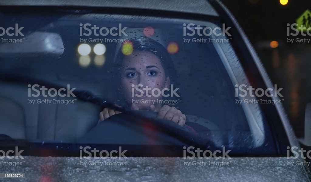 Night driving in Rain Storm stock photo