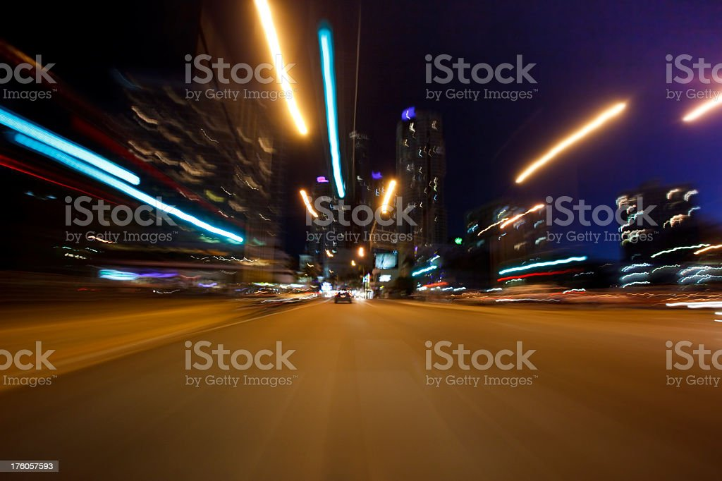 Night Driving in Surfers Paradise royalty-free stock photo